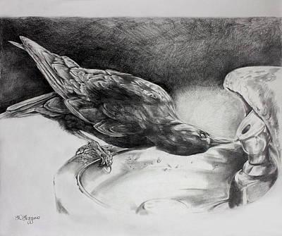Huginn Painting - Thirsty Crow by Derrick Higgins