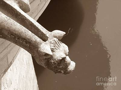 Art Print featuring the photograph Thirsty Gargoyle - Sepia by HEVi FineArt