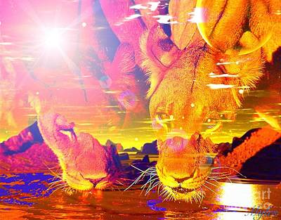 Digital Art - Thirsty Lions In My Dreams  by Saundra Myles