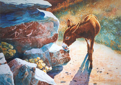 Petroglyph Painting - Thirsty One by Marguerite Chadwick-Juner
