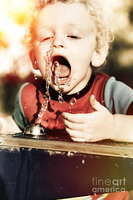 Thirsty Young Blond Child Drinking From Tap Art Print by Jorgo Photography - Wall Art Gallery