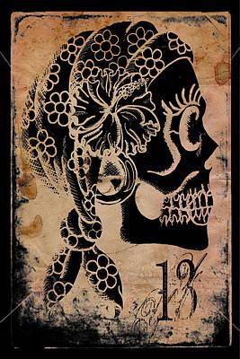 Sugar Skull Drawing - Thirteemth Gypsy by Shayne of the  Dead