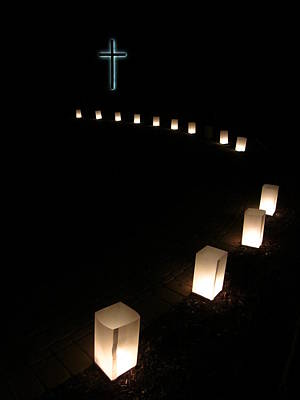 Bags With Candles Photograph - Thirteen Steps To The Cross by Guy Ricketts
