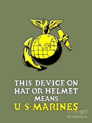 Armed Services Photograph - This Device Means U S Marines by God and Country Prints