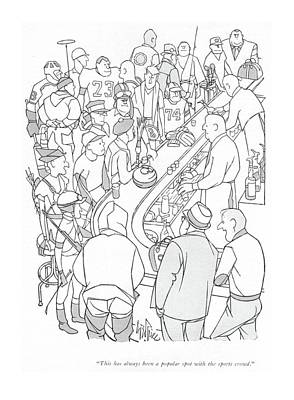 Athletics Drawing - This Has Always Been A Popular Spot by George Price