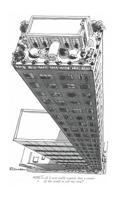 Rooftops Drawing - This Is All I Ever Really Wanted. Just A Corner by Boris Drucker