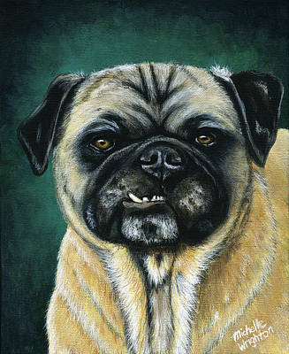 This Is My Happy Face - Pug Dog Painting Print by Michelle Wrighton