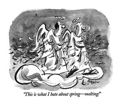 Spring Drawing - This Is What I Hate About Spring - Molting! by Lee Lorenz