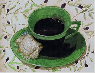 Painting - This Is Your Grandmas Cup Of Coffee by June Holwell