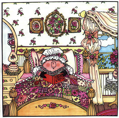 Storybook Drawing - This Little Piggy Stayed Home by Sarajane Helm