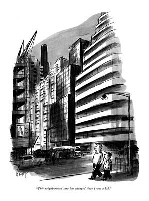 Adolescence Drawing - This Neighborhood Sure Has Changed Since by Barney Tobey