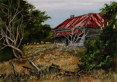 Broken Fence Painting - This Old House by Val Stokes