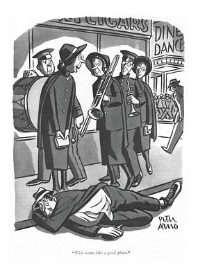 Drawing - This Seems Like A Good Place by Peter Arno