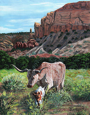 Longhorn Cattle Painting - This Way Mama by Timithy L Gordon