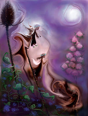 Thistle Fairies By Moonlight Art Print by Terry Webb Harshman