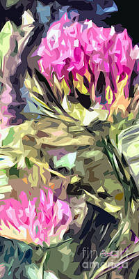 Thistles Abstract Triptych #3 Floral Art Print