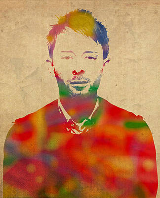 Thom Yorke Radiohead Watercolor Portrait On Worn Distressed Canvas Art Print by Design Turnpike