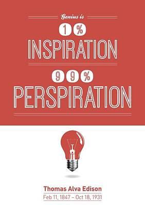 Thomas Alva Edison Quote Typography Print Poster Art Print