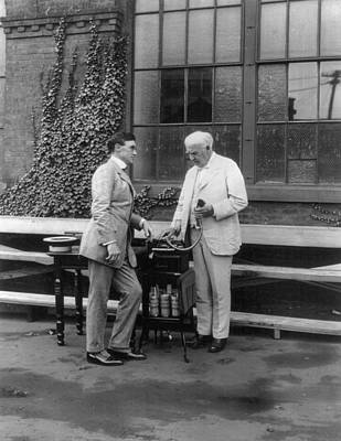 Dictaphones Photograph - Thomas Edison (1847-1931) American by Granger