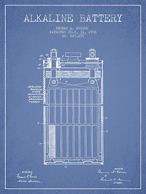 Thomas Edison Alkaline Battery From 1906 - Light Blue Art Print by Aged Pixel