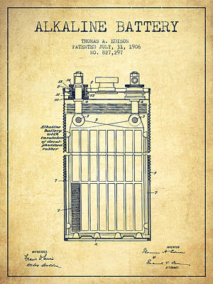 Thomas Edison Alkaline Battery From 1906 - Vintage Art Print by Aged Pixel