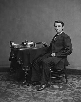 Thomas Edison And Phonograph 1878 Art Print by Mountain Dreams