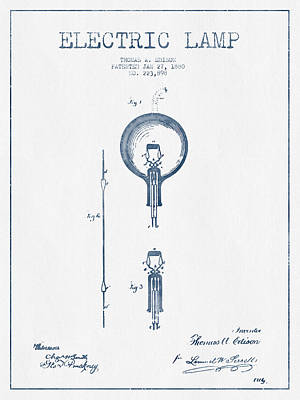 Thomas Edison Electric Lamp Patent From 1880 - Blue Ink Art Print