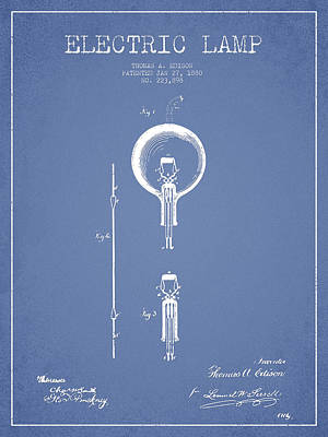 Thomas Edison Electric Lamp Patent From 1880 - Light Blue Art Print