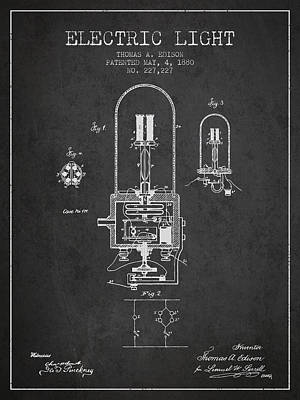 Thomas Edison Electric Light Patent From 1880 - Charcoal Art Print