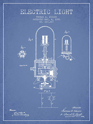 Thomas Edison Electric Light Patent From 1880 - Light Blue Art Print