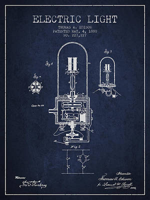 Thomas Edison Electric Light Patent From 1880 - Navy Blue Art Print