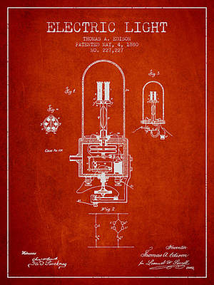 Edison Drawing - Thomas Edison Electric Light Patent From 1880 - Red by Aged Pixel