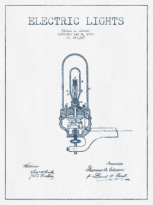 Thomas Edison Electric Lights Patent From 1880  - Blue Ink Art Print