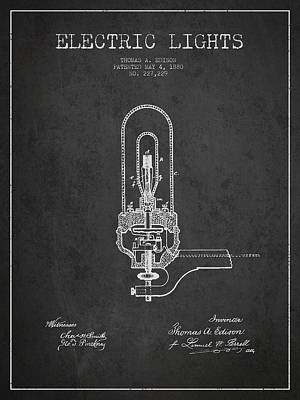 Thomas Edison Electric Lights Patent From 1880 - Dark Art Print
