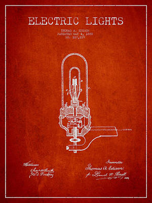 Thomas Edison Electric Lights Patent From 1880 - Red Art Print