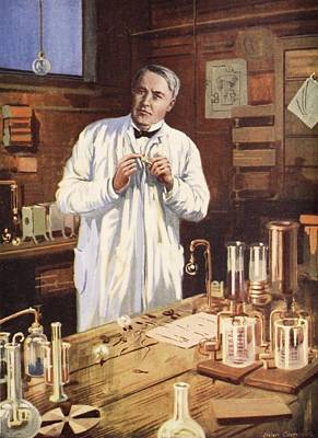 Lab Drawing - Thomas Edison In His Workshop by John Cameron