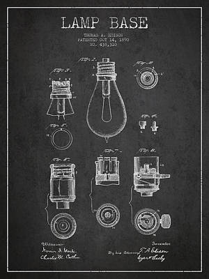 Thomas Edison Lamp Base Patent From 1890 - Dark Art Print