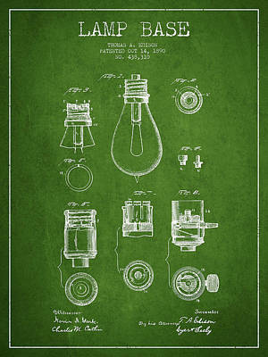 Thomas Edison Lamp Base Patent From 1890 - Green Art Print