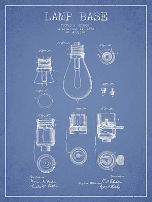 Edison Drawing - Thomas Edison Lamp Base Patent From 1890 - Light Blue by Aged Pixel