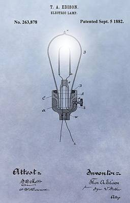 Businessman Digital Art - Thomas Edison Electric Lamp Patent by Dan Sproul