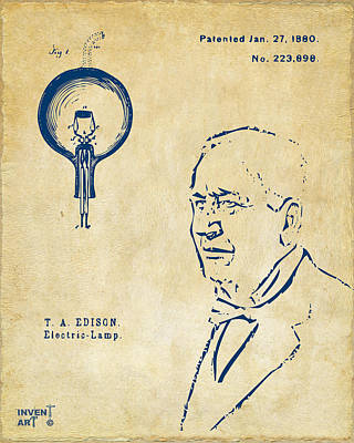 Digital Art - Thomas Edison Lightbulb Patent Artwork Vintage by Nikki Marie Smith