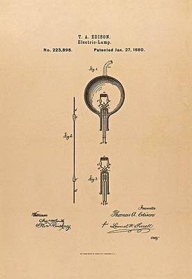 Thomas Edison Patent Application For The Light Bulb Art Print by Movie Poster Prints