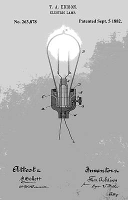 Businessman Digital Art - Thomas Edison Patent by Dan Sproul