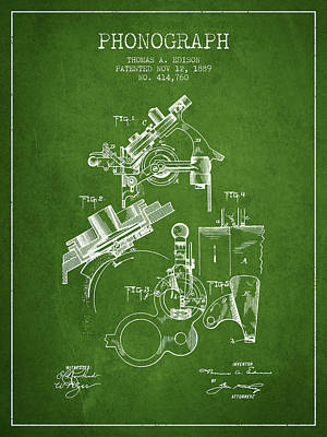 Phonograph Drawing - Thomas Edison Phonograph Patent From 1889 - Green by Aged Pixel