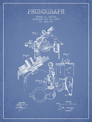 Phonograph Drawing - Thomas Edison Phonograph Patent From 1889 - Light Blue by Aged Pixel