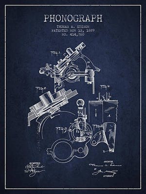 Phonograph Drawing - Thomas Edison Phonograph Patent From 1889 - Navy Blue by Aged Pixel