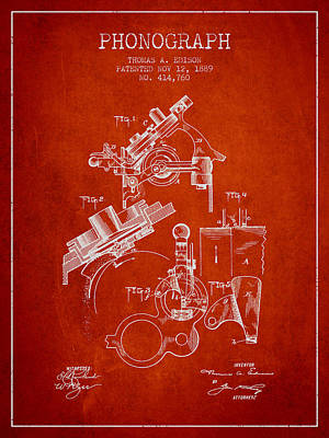 Edison Drawing - Thomas Edison Phonograph Patent From 1889 - Red by Aged Pixel
