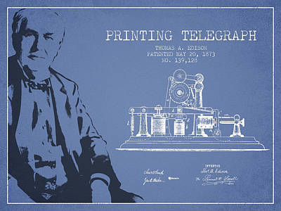 Thomas Edison Printing Telegraph Patent Drawing From 1873 - Ligh Art Print