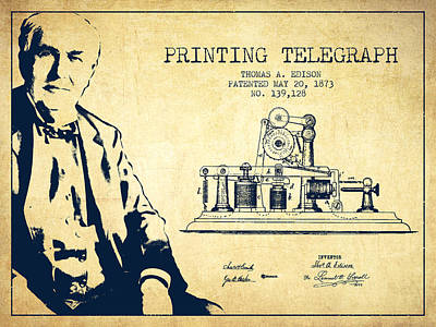 Thomas Edison Printing Telegraph Patent Drawing From 1873 - Vint Art Print