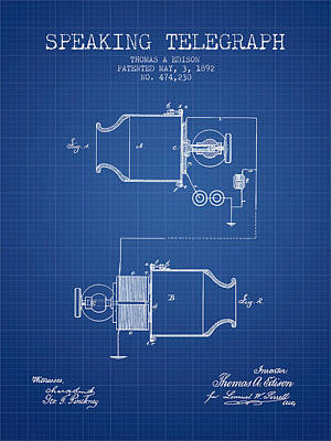 Thomas Edison Speaking Telegraph Patent From 1892 - Blueprint Art Print by Aged Pixel